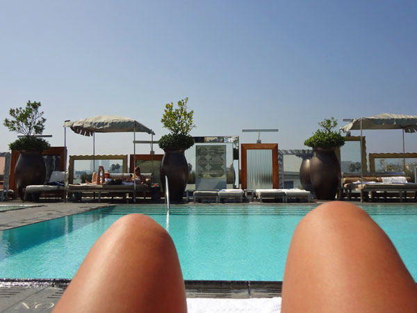 Rooftop pool SLS Hotel in Beverly Hills