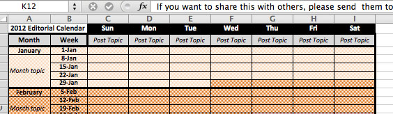 editorial calendar template closeup