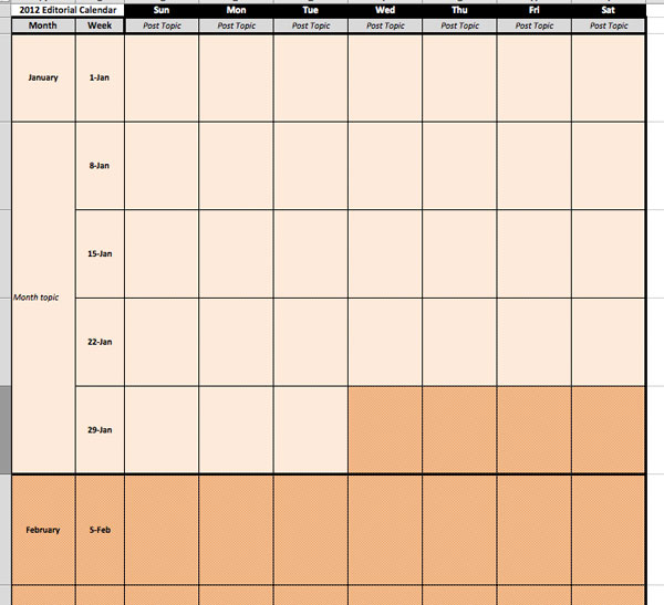 monthly editorial calendar template - free editorial calendar template download for your blog