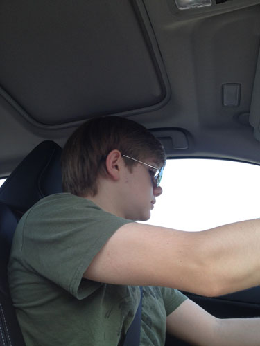 Nathan learning to drive.