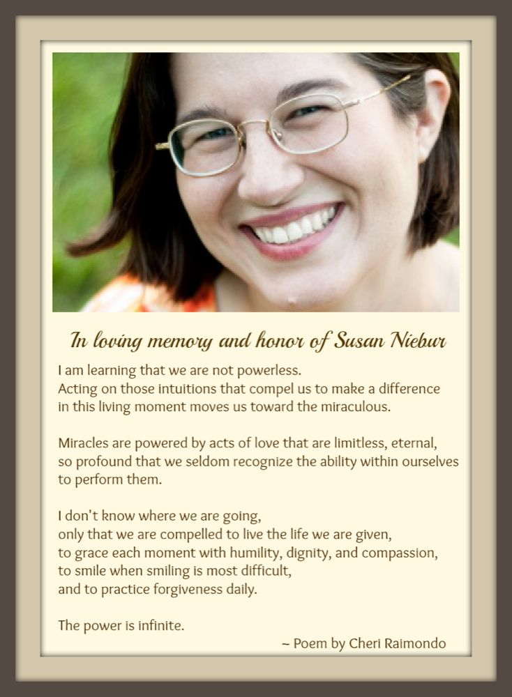 In Honor of Susan; We Miss You #WhyMommy