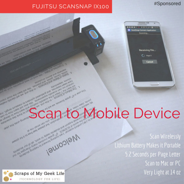 ScanSnap ix100 by Fujitsu scans directly to mobile device in 5.2 seconds/letter size page.