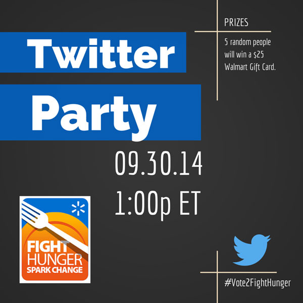 Walmart's Fights Hunger. Spark Change. Twitter Party 9/30 #HungerAction #Vote2FightHunger