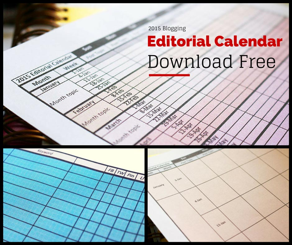 FREE 2015 Editorial Calendar Template Download
