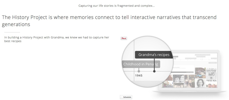 The History Project connects your memories. It is a digital storytelling platform.