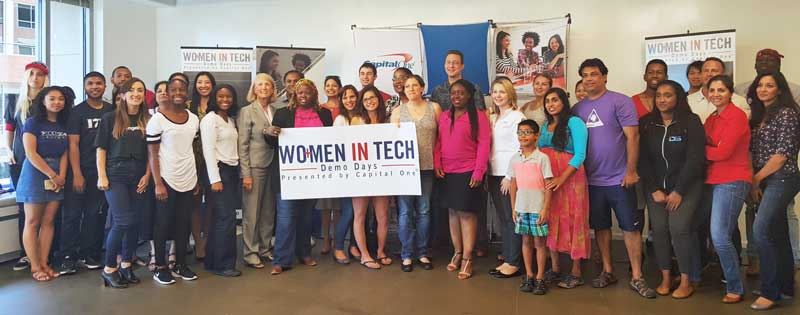 Women in Tech Demo Day group photo. Teams and judges paving the way. #WITDemoDay