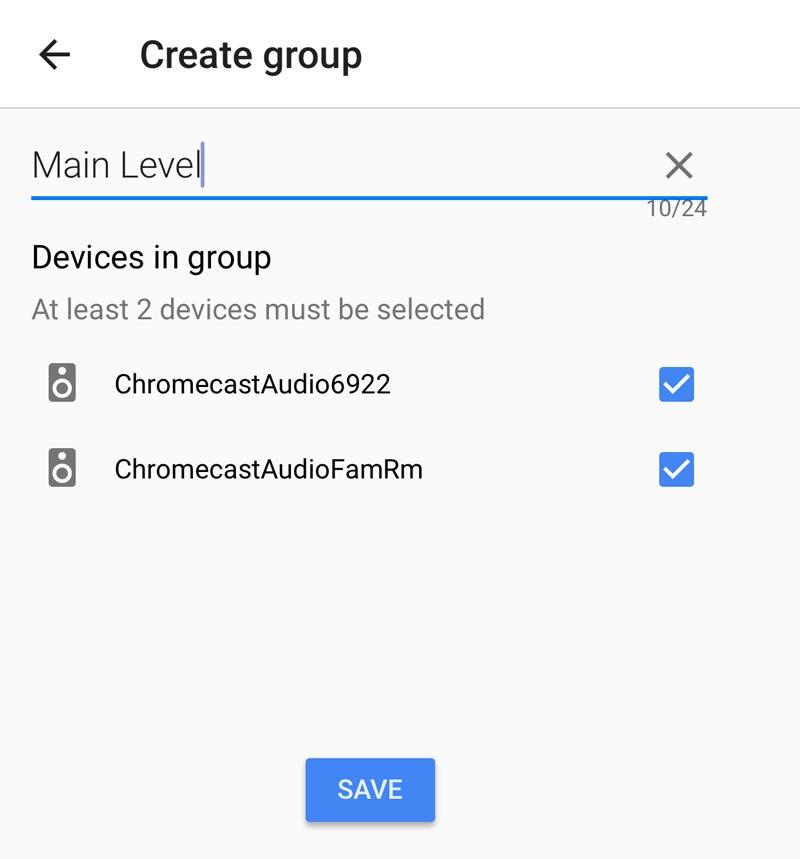 Create a group for Chromecast Audio