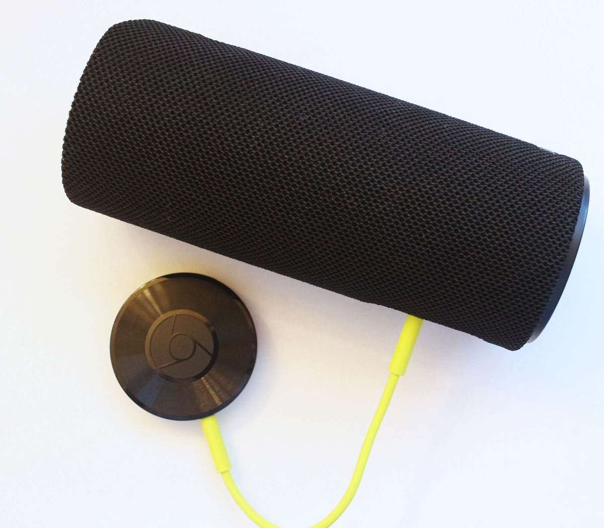 Chromecast Audio connected to a bluetooth speaker. Chromecast Audio available at Best Buy.